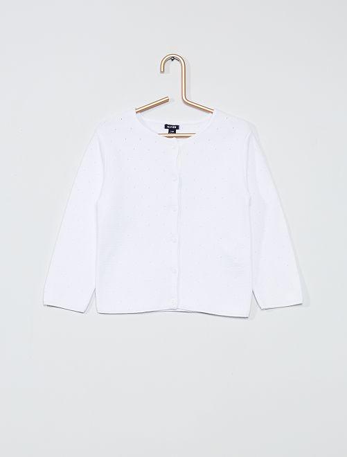 Cardigan in maglia fantasia                                         bianco