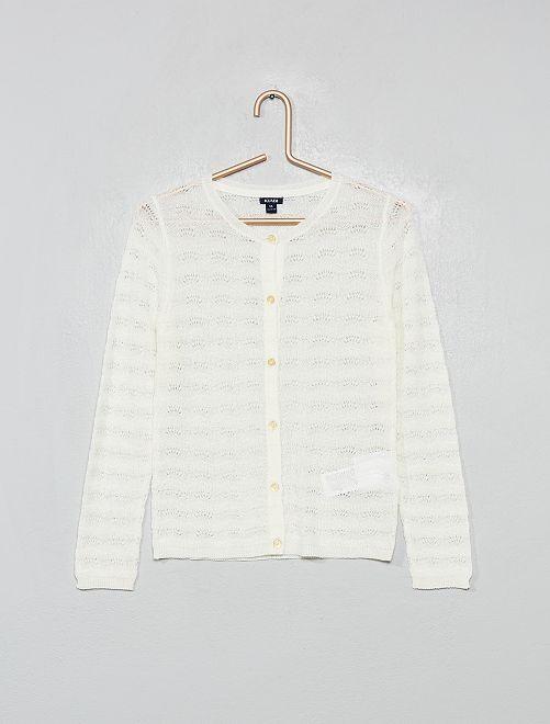 Cardigan in maglia traforata fantasia                                         bianco neve