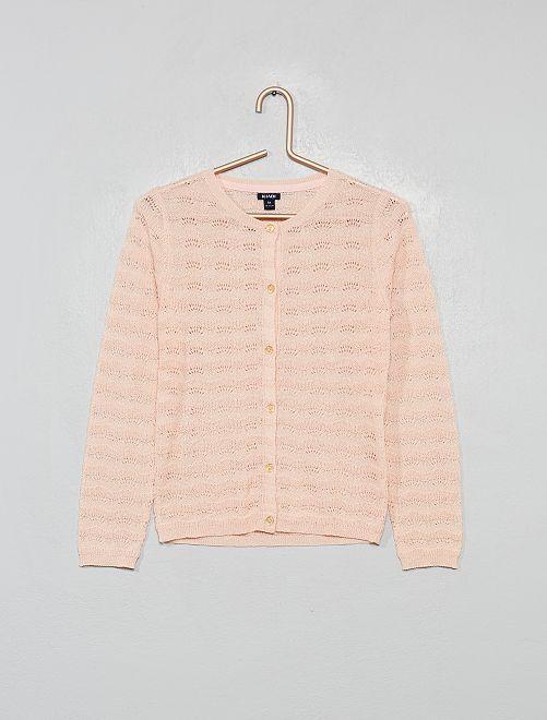 Cardigan in maglia traforata fantasia                                         rosa