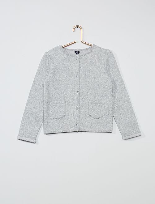 Cardigan in tessuto felpato garzato                                                     grigio