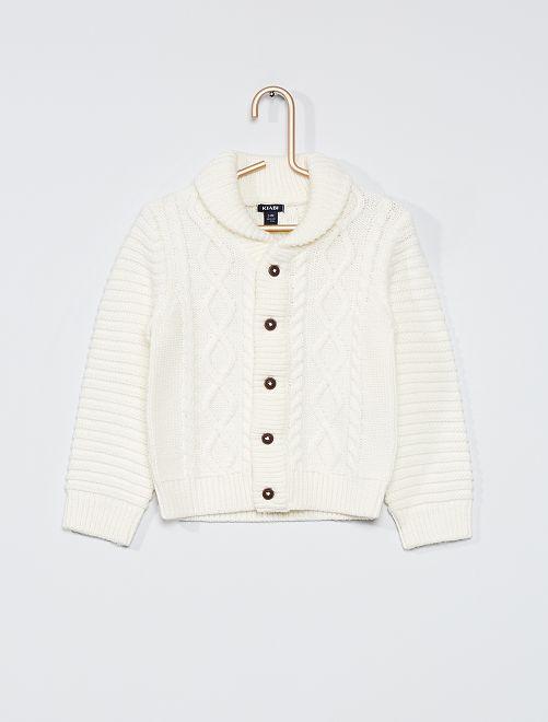 Cardigan tricot con bottoni                                                     bianco neve