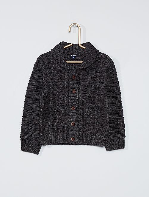 Cardigan tricot con bottoni                                                     GRIGIO