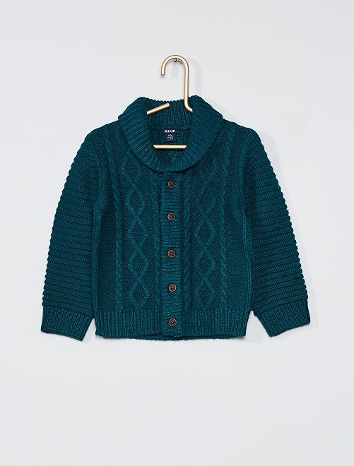 Cardigan tricot con bottoni                                                     verde