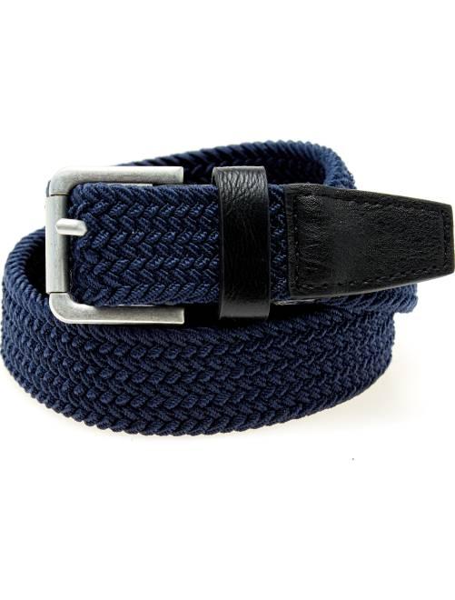 Cintura intrecciata dettagli ecopelle                                         blu Uomo