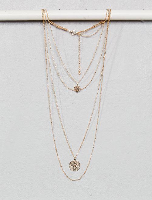 Collana 4 giri con pendenti                                         dorato