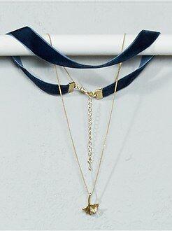 Gioielli - Collana chocker + catena e pendente foglia
