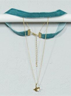 Gioielli - Collana chocker + catena e pendente foglia - Kiabi