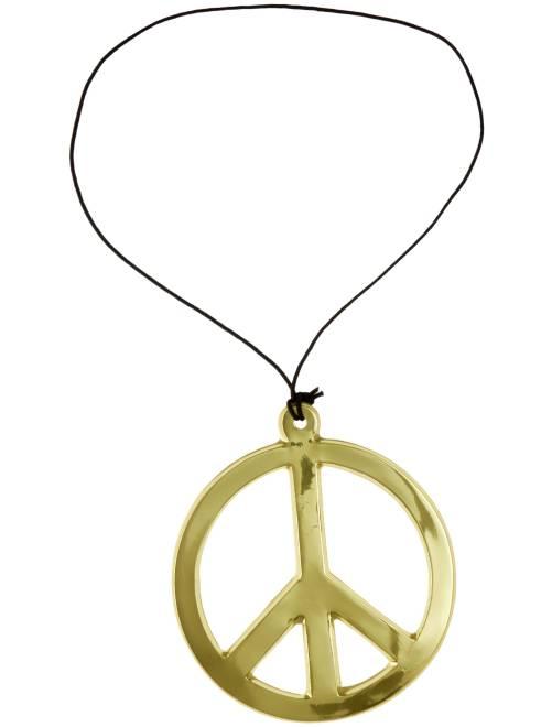 Collana hippy peace and love                                         dorato