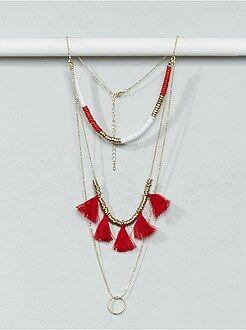 Gioielli - Collana lunga catene, perle e pompon