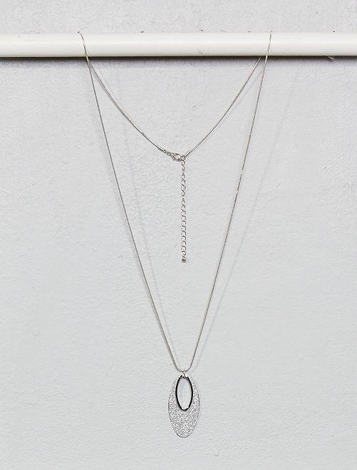 Collana lunga con pendente luccicante                                         argento