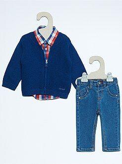 Completino 3 pezzi gilet + jeans + camicia