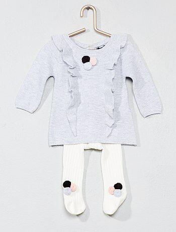 Completino abito + calzamaglia con pompon - Kiabi