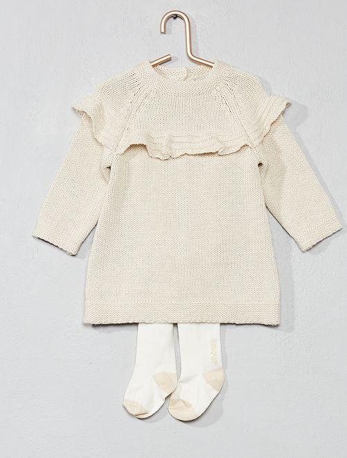 Completino abito + calzamaglia eco-design                             BIANCO Neonata