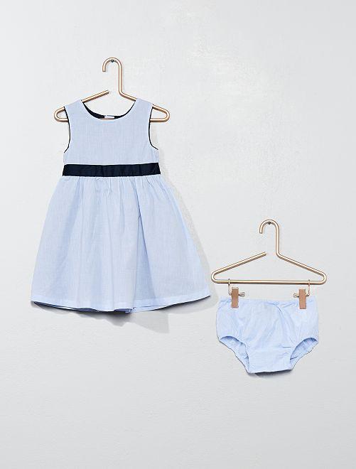 Completino abito e mutandine                             blu Neonata
