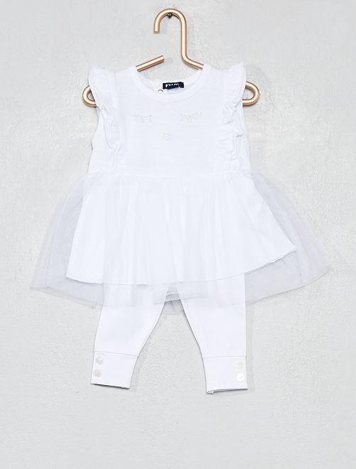 Completino abito tutù + leggings                                         bianco Neonata