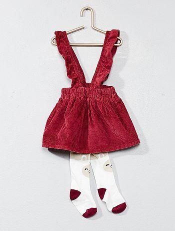 Bambina 0-36 mesi - Completino abito velluto e calzamaglia - Kiabi
