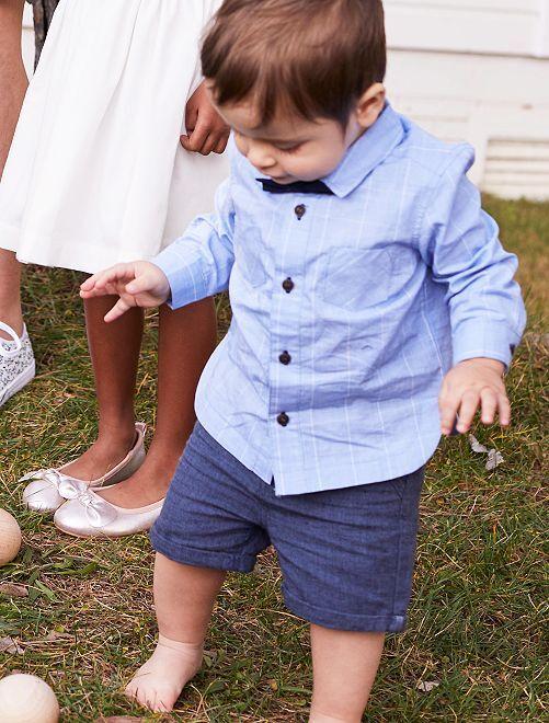 Completino camicia + farfallino                             BLU Neonato