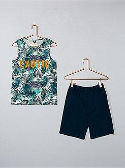 T-shirt, polo - Completino canotta stampa 'foglie' + pantaloncini - Kiabi