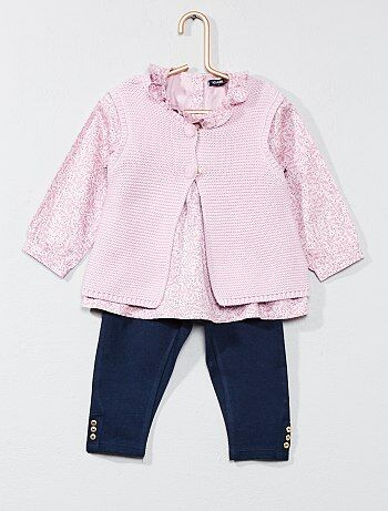 Completino gilet + blusa + pantaloni - Kiabi
