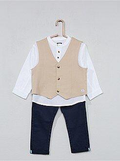 Bambino 0-36 mesi - Completino gilet + camicia + pantaloni - Kiabi