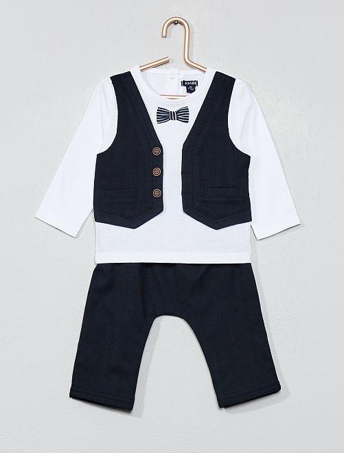 Completino maglia '2 in 1' + pantaloni                             BIANCO