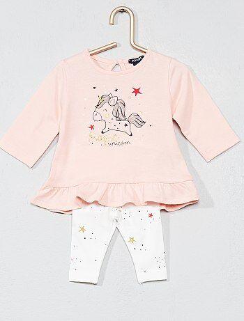 Bambina 0-36 mesi - Completino maglia con baschina + leggings - Kiabi