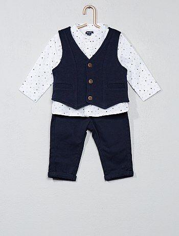 Bambino 0-36 mesi - Completino maglia + gilet + pantaloni - Kiabi