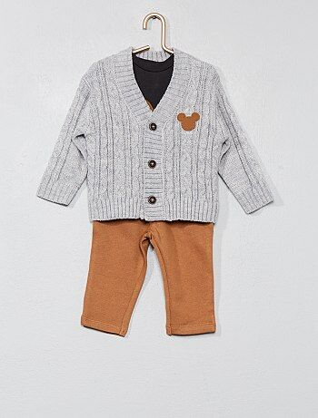 Completino maglia + gilet + pantaloni 'Topolino' - Kiabi