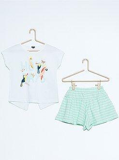 Completini - Completino maglietta con stampa + gonna pantaloncini