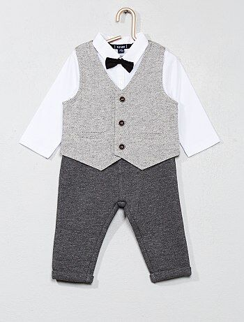 Bambino 0-36 mesi - Completino pantaloni + body + gilet - Kiabi