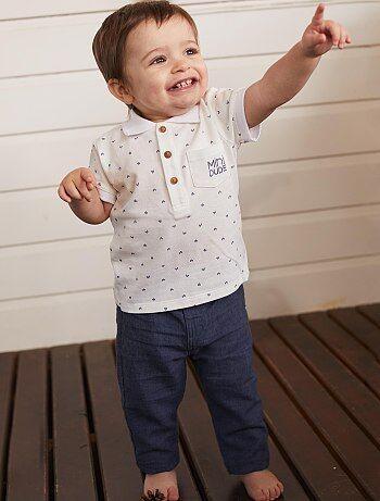 4951ff682704 Bambino 0-36 mesi - Completino polo + pantaloni - Kiabi