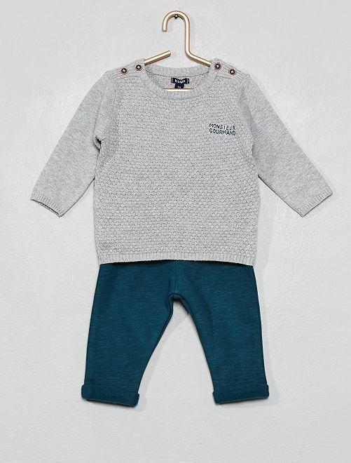 Completino pullover + pantaloni                             GRIGIO