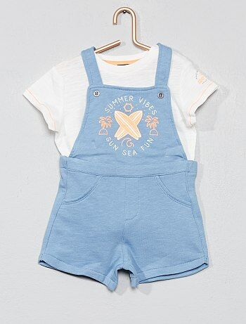 23cb8505b6 Bambino 0-36 mesi - Completino salopette + maglietta - Kiabi
