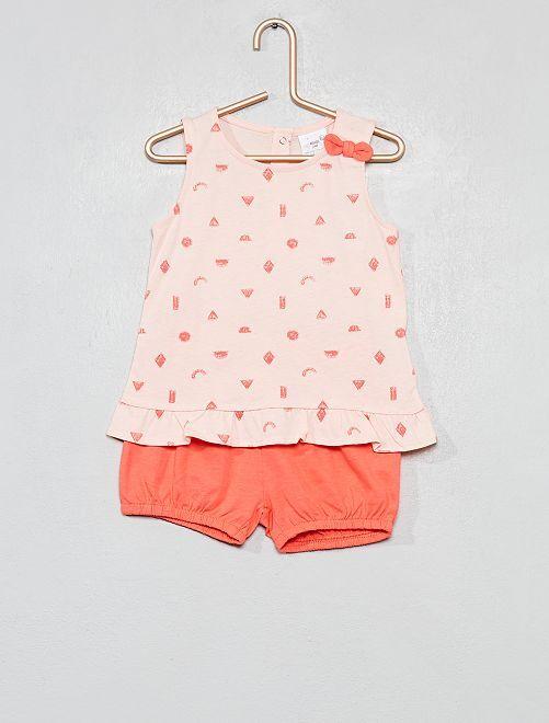 Completino top e pantaloncini                                                                 ROSA Neonata