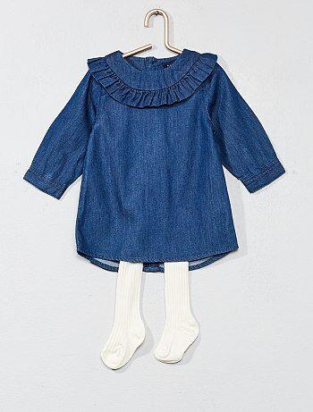 Bambina 0-36 mesi - Completino vestito denim + calzamaglia - Kiabi