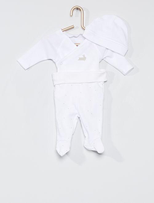 Completo body + leggings + cuffietta                                         BIANCO