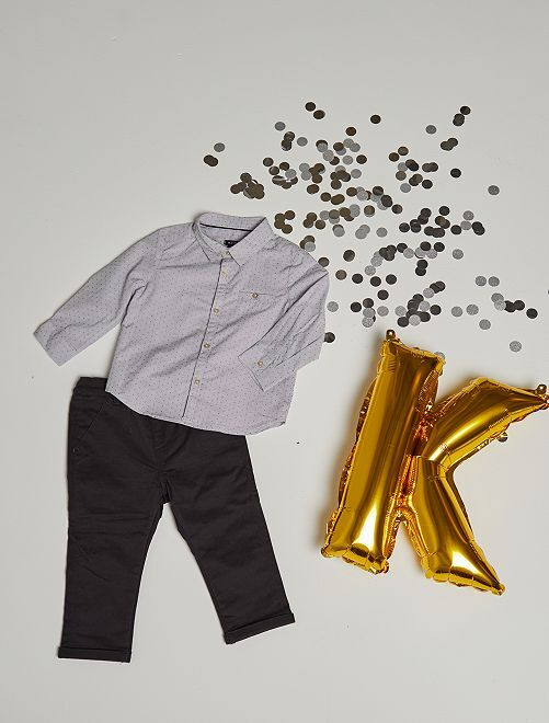 Completo camicia e pantaloni eco-sostenibili                             grigio scuro