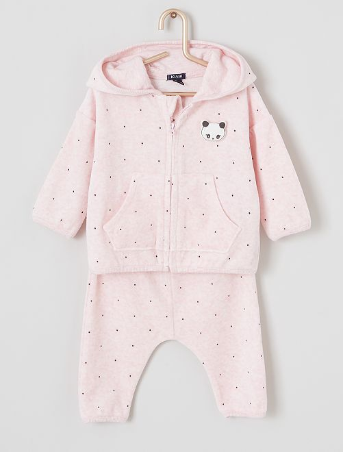 Completo cardigan + pantaloni 'panda'                                         ROSA chiaro
