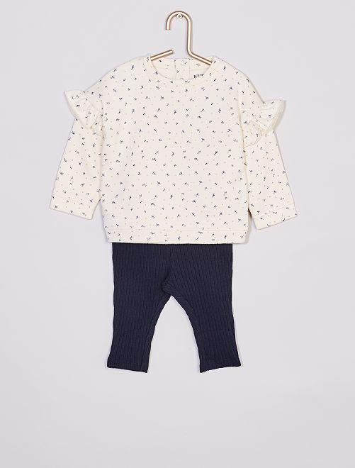 Completo felpa + leggings eco-sostenibili                             BIANCO