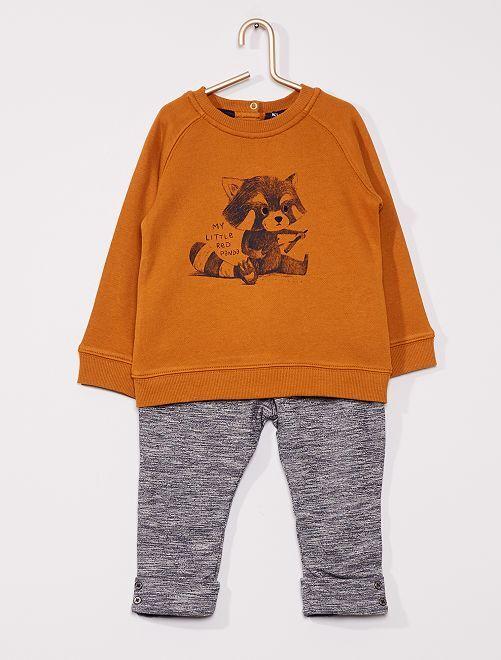 Completo felpa + pantaloni eco-sostenibili                             GIALLO