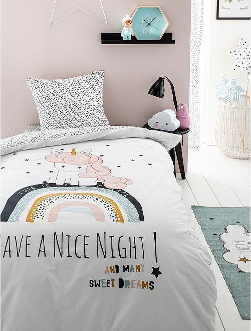 Completo letto 1 piazza 'unicorno'                             bianco