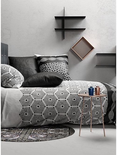 Completo letto 2 piazze double face 'pavimento'                             bianco/nero