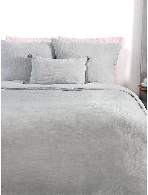 Completo letto in garza di cotone 2 piazze                             grigio