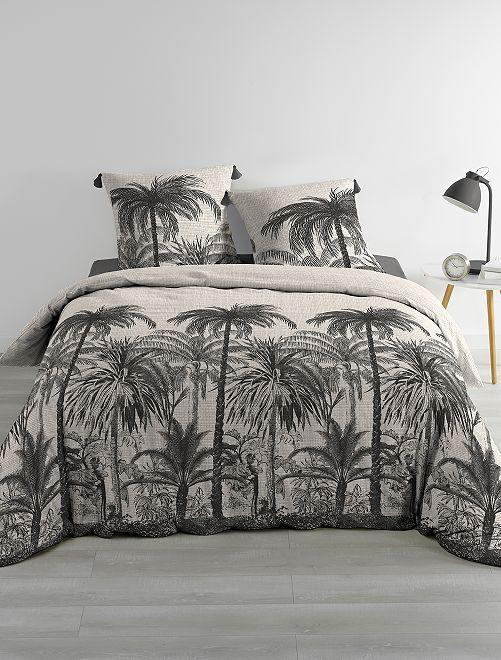 Completo letto reversibile 'palme' 2 piazze                             grigio scuro