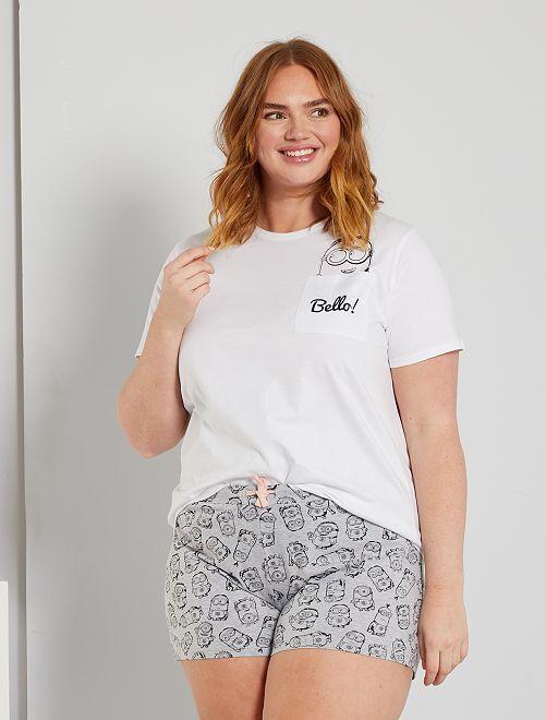 Completo pigiama corto 'Minions'                             grigio/bianco