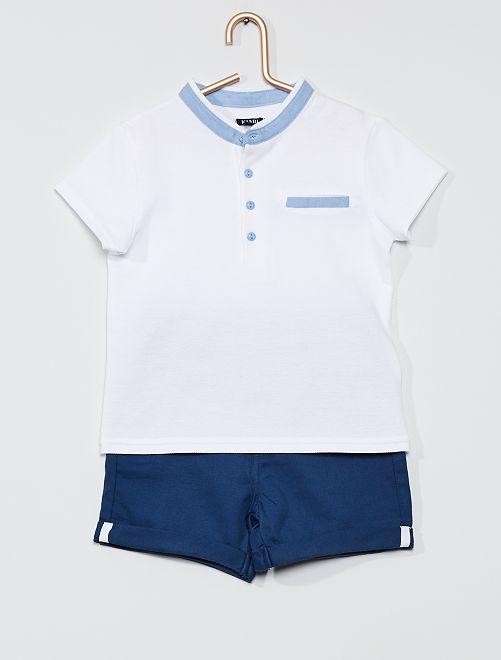 Completo polo + shorts                                         BLU