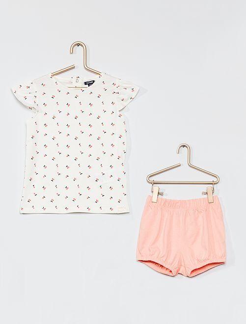 Completo t-shirt e shorts                             BIANCO