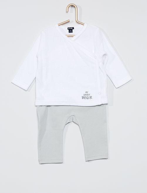 Completo t-shirt + pantaloni 'orso'                                                     bianco