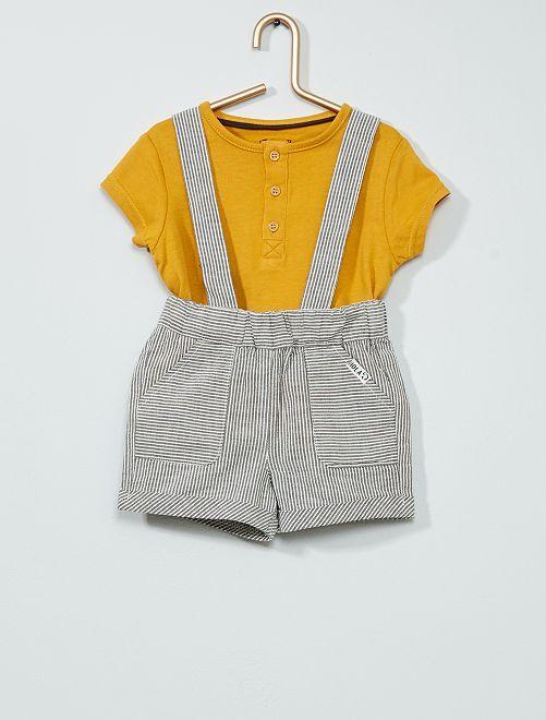 Completo T-shirt + shorts con spalline                             GIALLO