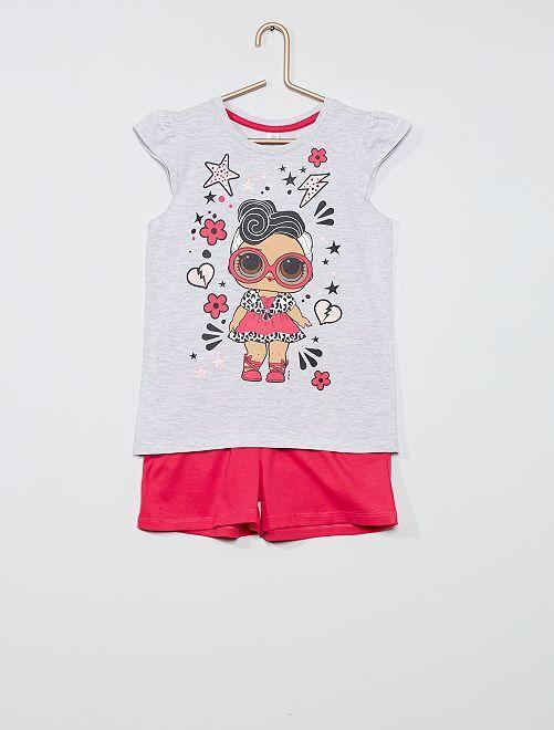 Completo t-shirt + shorts 'L.O.L. Surprise!'                                         grigio/fucsia